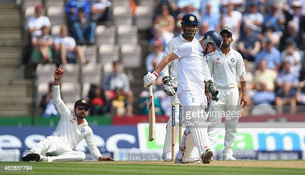 England batsman Gary Ballance survives an appeal for a catch by Virat Kholi during day two of the 3rd Investec Test at Ageas Bowl on July 28 2014 in...