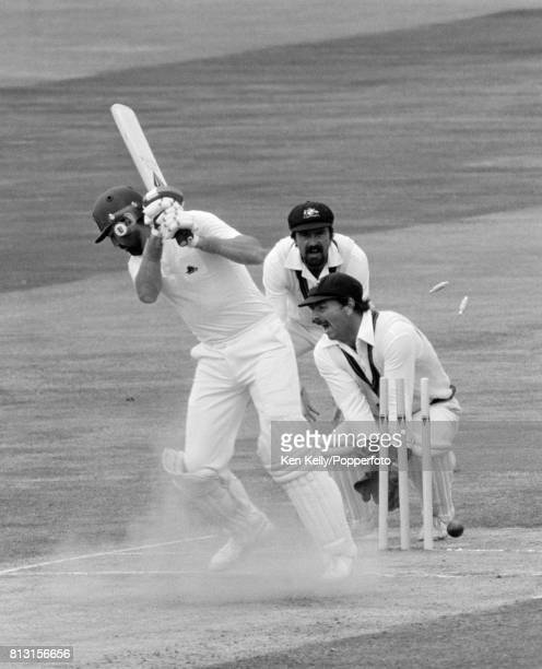 England batsman Graham Gooch is bowled for 21 runs in the 4th Test match between England and Australia at Edgbaston Birmingham 1st August 1981 The...