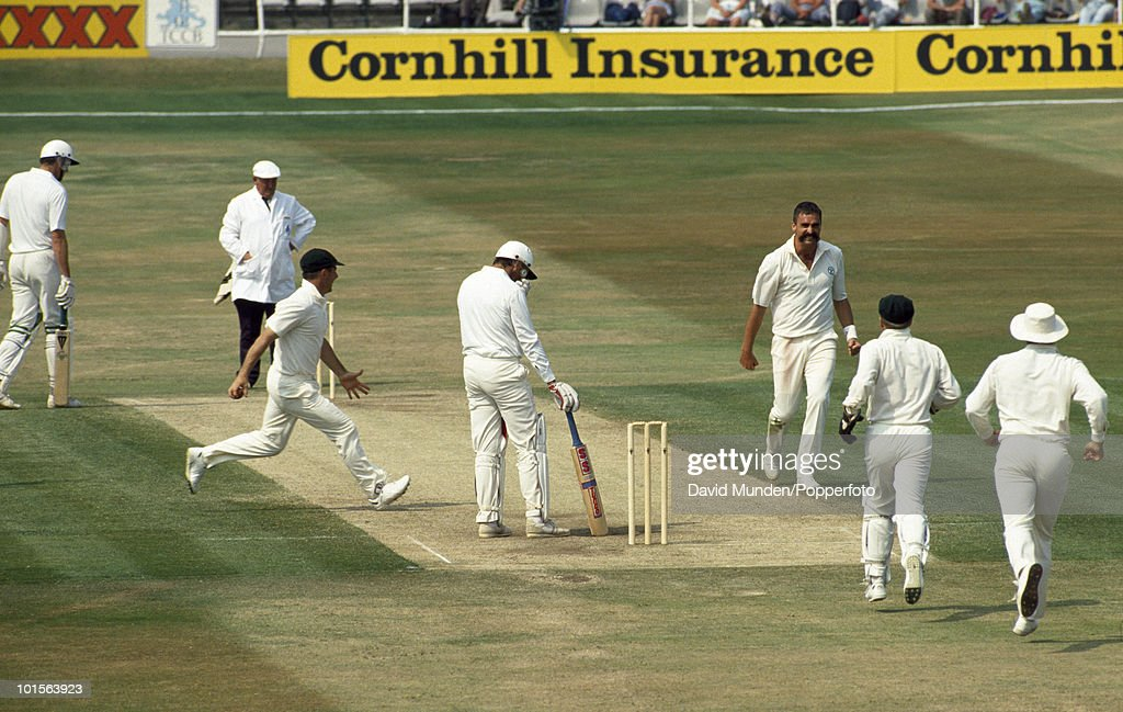 England batsman Graham Gooch is out LBW to Merv Hughes for 68 during England's 2nd innings on the fourth day of the 1st Test match between England and Australia at Headingley in Leeds, 12th June 1989. Australia won by 210 runs.