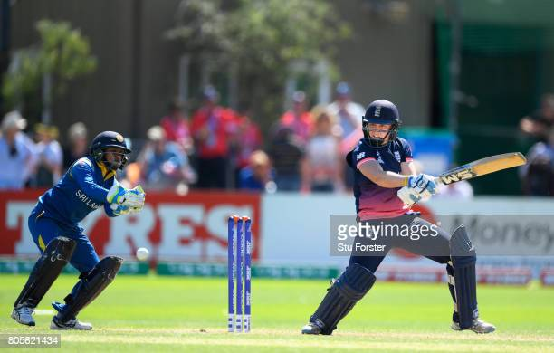 England batsman Heather Knight hits out during the ICC Women's World Cup 2017 match between England and Sri Lanka at The Cooper Associates County...