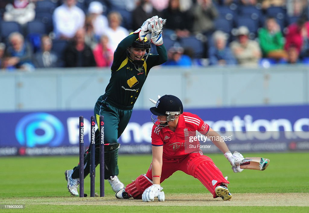 England batsman Heather Knight is stumped by Australia wicketkeeper <a gi-track='captionPersonalityLinkClicked' href=/galleries/search?phrase=Jodie+Fields&family=editorial&specificpeople=5576479 ng-click='$event.stopPropagation()'>Jodie Fields</a> during the Women's Ashes Series - 3rd NatWest T20 between England Women and Australia Women at Emirates Durham ICG on August 31, 2013 in Chester-le-Street, England.