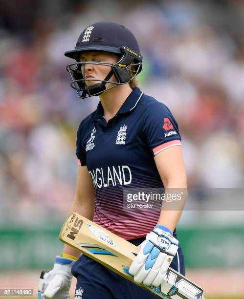 England batsman Heather Knight reacts after being dismissed during the ICC Women's World Cup 2017 Final between England and India at Lord's Cricket...