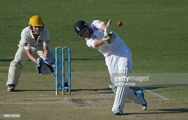 England batsman Ian Bell hits a six on day two of the Ashes cricket tour match against a Western Australian Chairman's XI at the WACA ground in Perth...
