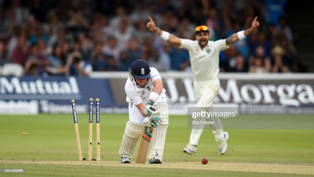 England batsman <a gi-track='captionPersonalityLinkClicked' href=/galleries/search?phrase=Ian+Bell&family=editorial&specificpeople=206128 ng-click='$event.stopPropagation()'>Ian Bell</a> looks on in disbelief after being bowled by India bowler Ishant Sharma during day four of 2nd Investec Test match between England and India at Lord's Cricket Ground on July 20, 2014 in London, United Kingdom.