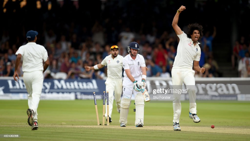 England batsman <a gi-track='captionPersonalityLinkClicked' href=/galleries/search?phrase=Ian+Bell&family=editorial&specificpeople=206128 ng-click='$event.stopPropagation()'>Ian Bell</a> looks on in disbelief as India bowler Ishant Sharma celebrates during day four of 2nd Investec Test match between England and India at Lord's Cricket Ground on July 20, 2014 in London, United Kingdom.