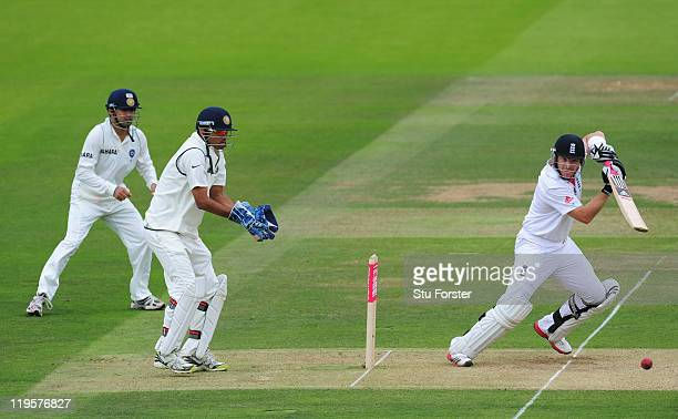 England batsman Ian Bell picks up some runs watched by Rahul Dravid of India during day two of the 1st npower test match between England and India at...