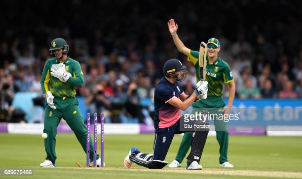 England batsman Jake Ball is bowled by South Africa bowler Maharaj during the 3rd Royal London Cup match between England and South Africa at Lord's...