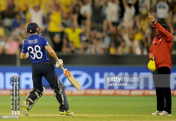 England batsman James Taylor is given out LBW by umpire Aleem Dar which was then over turned on review during the Pool A 2015 Cricket World Cup match...