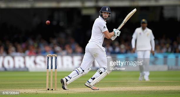 England batsman James Vince hits a boundary during day four of the 1st Investec Test match between England and Pakistan at Lord's Cricket Ground on...
