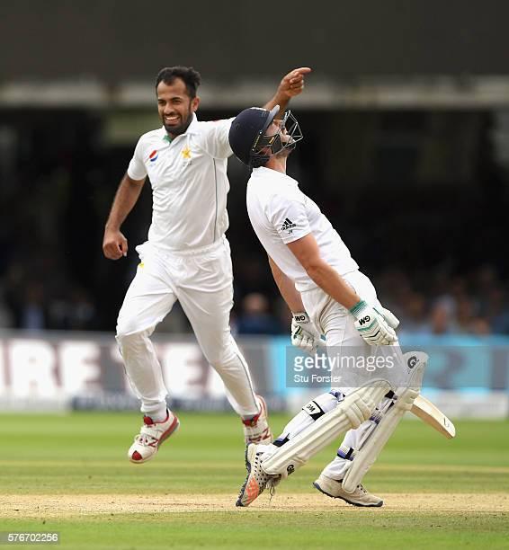 England batsman James Vince reacts after being dismissed by Wahab Riaz during day four of the 1st Investec Test match between England and Pakistan at...
