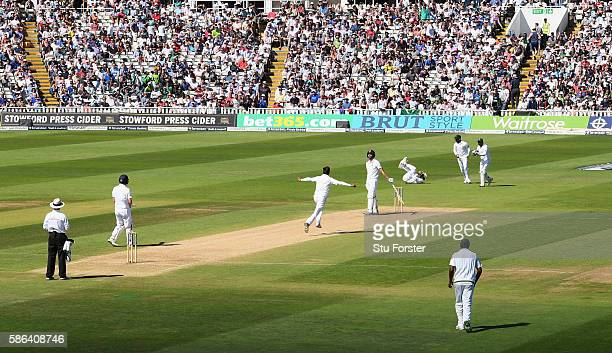 England batsman James Vince reacts as he is caught at slip by Younis Khan off the bowling of Mohammad Amir during day 4 of the 3rd Investec Test...