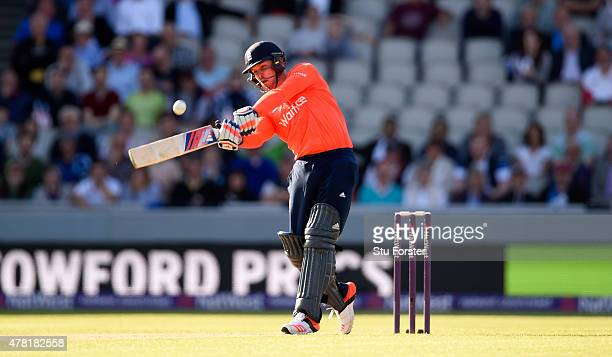 England batsman Jason Roy hits a six during the NatWest International Twenty20 match between England and New Zealand at Old Trafford on June 23 2015...