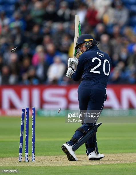 England batsman Jason Roy is bowled by Adam Milne during the ICC Champions Trophy match between England and New Zealand at SWALEC Stadium on June 6...