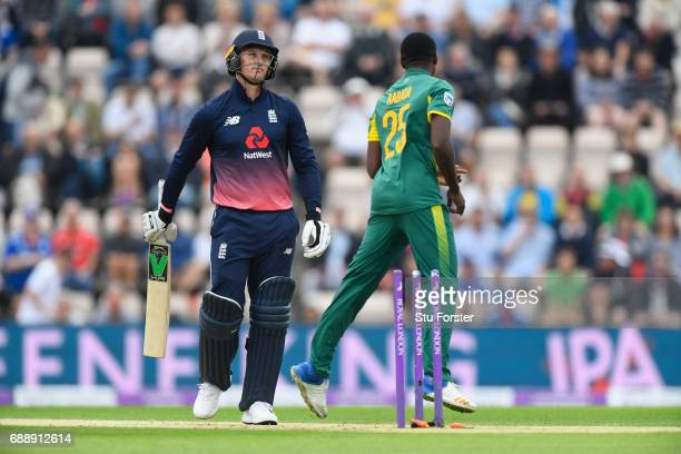 England batsman Jason Roy reacts after being bowled by South Africa bowler Kagiso Rabada during the 2nd Royal London One Day International between...