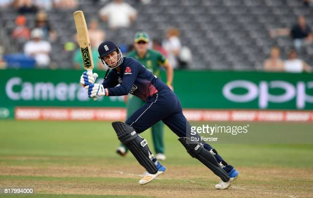 England batsman Jenny Gunn hits out during the ICC Women's World Cup 2017 SemiFinal between England and South Africa at The County Ground on July 18...