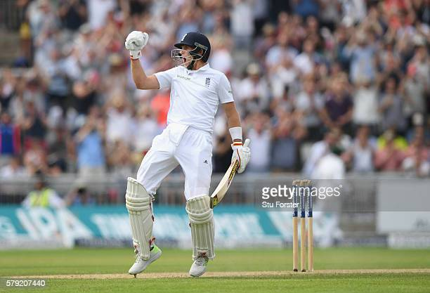 England batsman Joe Root celebrates after reaching 200 during day two of the 2nd Investec Test match between England and Pakistan at Old Trafford on...