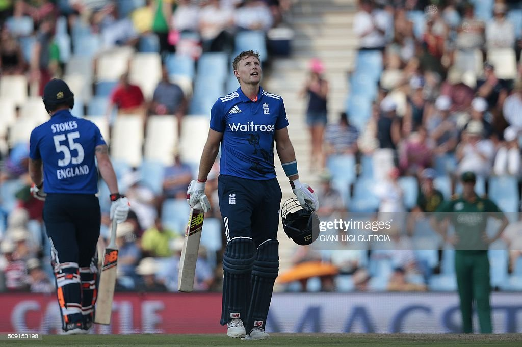 England batsman Joe Root (2-L) celebrates after scoring a century (100 runs) during the third One Day International (ODI) match between England and South Africa at Supersport park on February 9, 2016 in Centurion, South Africa. GUERCIA