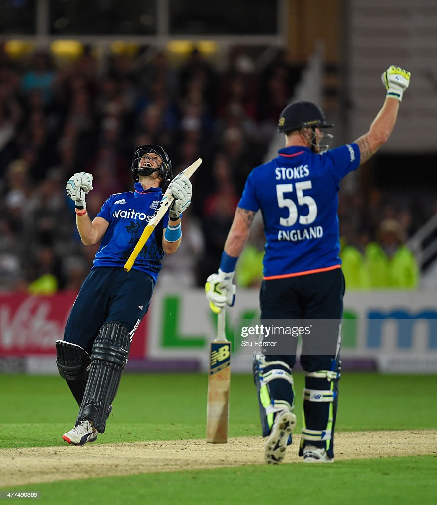 England batsman <a gi-track='captionPersonalityLinkClicked' href=/galleries/search?phrase=Joe+Root&family=editorial&specificpeople=6688996 ng-click='$event.stopPropagation()'>Joe Root</a> (l) celebrates after scoring the winning runs as batting partner <a gi-track='captionPersonalityLinkClicked' href=/galleries/search?phrase=Ben+Stokes&family=editorial&specificpeople=6688979 ng-click='$event.stopPropagation()'>Ben Stokes</a> reacts during the 4th ODI Royal London One Day International between England and New Zealand at Trent Bridge on June 17, 2015 in Nottingham, England.