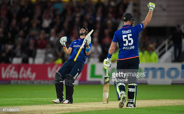 England batsman Joe Root celebrates after scoring the winning runs as batting partner Ben Stokes reacts during the 4th ODI Royal London One Day...