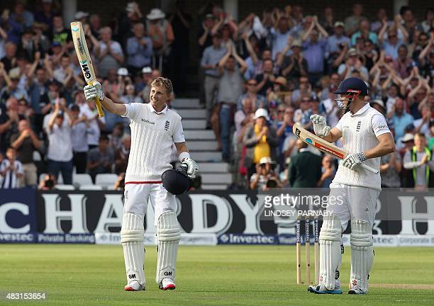 England batsman Joe Root celebrates scoring a century on the first day of the fourth Ashes cricket Test match between England and Australia at Trent...