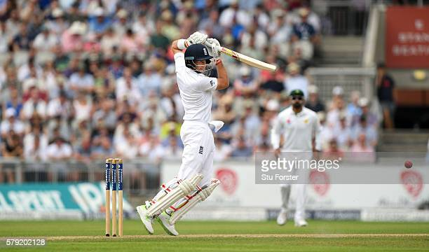 England batsman Joe Root cover drives during day two of the 2nd Investec Test match between England and Pakistan at Old Trafford on July 23 2016 in...