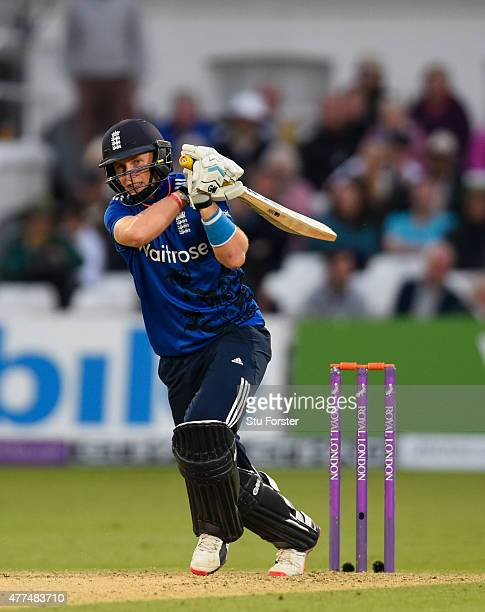 England batsman Joe Root drives a ball to the boundary during the 4th ODI Royal London One Day International between England and New Zealand at Trent...