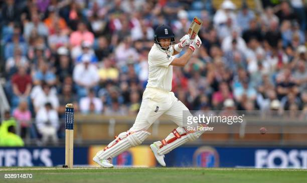 England batsman Joe Root hits out during day one of the 2nd Investec Test match between England and West Indies at Headingley on August 25 2017 in...