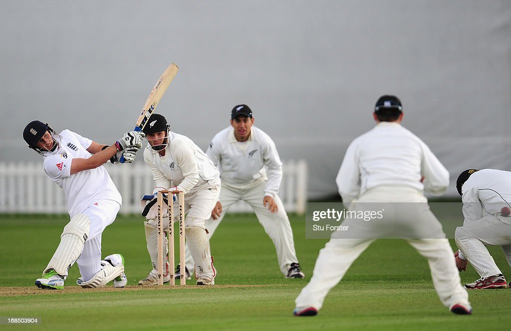 England batsman <a gi-track='captionPersonalityLinkClicked' href=/galleries/search?phrase=Joe+Root&family=editorial&specificpeople=6688996 ng-click='$event.stopPropagation()'>Joe Root</a> hits out during day two of the tour match between England Lions and New Zealand at Grace Road on May 10, 2013 in Leicester, England.