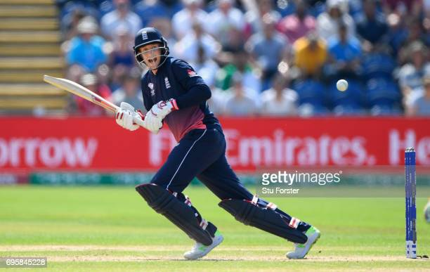England batsman Joe Root hits out during the ICC Champions Trophy semi final between England and Pakistan at SWALEC Stadium on June 14 2017 in...