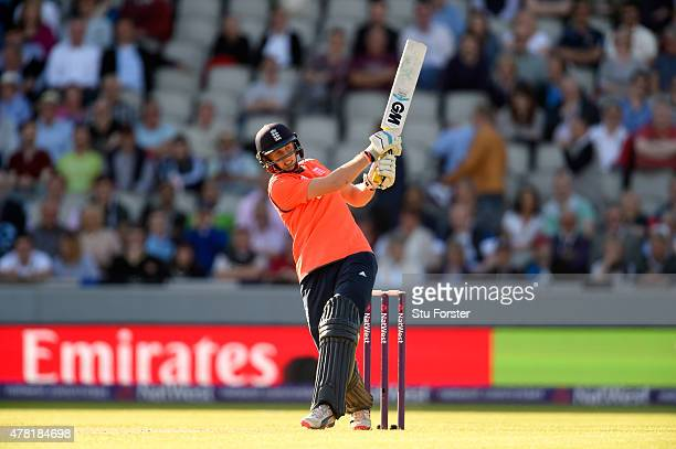 England batsman Joe Root hits out during the NatWest International Twenty20 match between England and New Zealand at Old Trafford on June 23 2015 in...