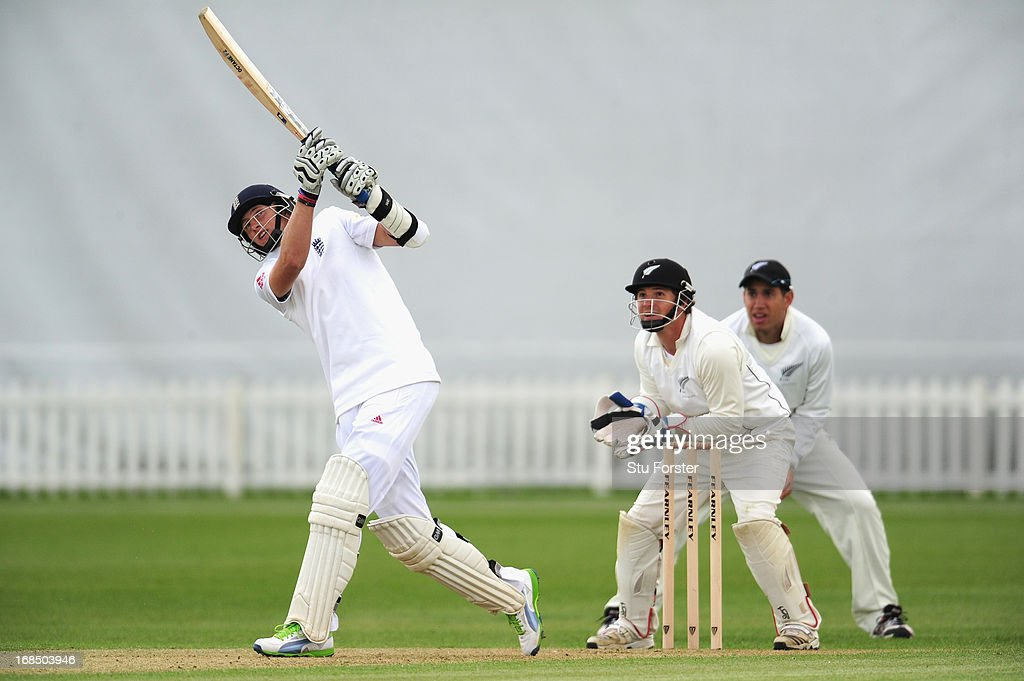 England batsman <a gi-track='captionPersonalityLinkClicked' href=/galleries/search?phrase=Joe+Root&family=editorial&specificpeople=6688996 ng-click='$event.stopPropagation()'>Joe Root</a> hits out watched by keeper BJ Watling during day two of the tour match between England Lions and New Zealand at Grace Road on May 10, 2013 in Leicester, England.