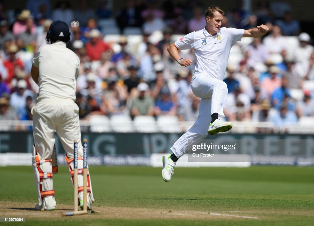 England batsman Joe Root is bowled by Chris Morris during day four of the 2nd Investec Test match between England and South Africa at Trent Bridge on July 17, 2017 in Nottingham, England.