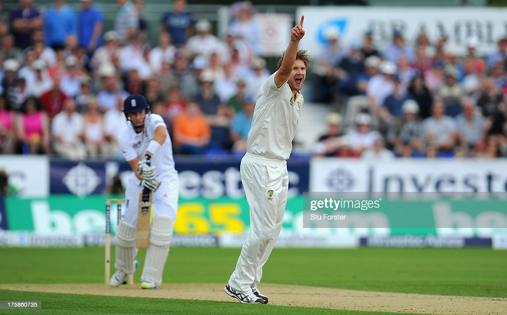 England batsman <a gi-track='captionPersonalityLinkClicked' href=/galleries/search?phrase=Joe+Root&family=editorial&specificpeople=6688996 ng-click='$event.stopPropagation()'>Joe Root</a> is given out caught behind off an appeal from <a gi-track='captionPersonalityLinkClicked' href=/galleries/search?phrase=Shane+Watson+-+Cricket+Player&family=editorial&specificpeople=171874 ng-click='$event.stopPropagation()'>Shane Watson</a> after a review during day one of 4th Investec Ashes Test match between England and Australia at Emirates Durham ICG on August 09, 2013 in Chester-le-Street, England.