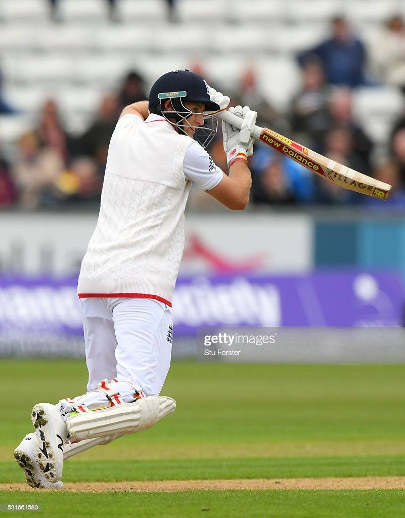 England batsman <a gi-track='captionPersonalityLinkClicked' href=/galleries/search?phrase=Joe+Root&family=editorial&specificpeople=6688996 ng-click='$event.stopPropagation()'>Joe Root</a> picks up some runs during day one of the 2nd Investec Test match between England and Sri Lanka at Emirates Durham ICG on May 27, 2016 in Chester-le-Street, United Kingdom.