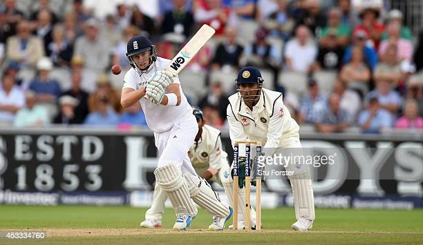 England batsman Joe Root picks up some runs during day two of the 4th Investec Test match at Old Trafford on August 8 2014 in Manchester England