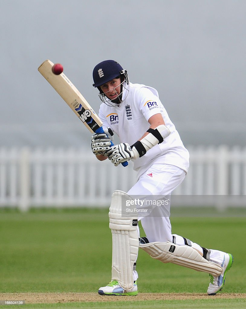 England batsman <a gi-track='captionPersonalityLinkClicked' href=/galleries/search?phrase=Joe+Root&family=editorial&specificpeople=6688996 ng-click='$event.stopPropagation()'>Joe Root</a> picks up some runs during day two of the tour match between England Lions and New Zealand at Grace Road on May 10, 2013 in Leicester, England.