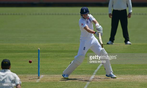 England batsman Joe Root plays a cut shot on day two of the Ashes cricket tour match against a Western Australian Chairman's XI at the WACA ground in...