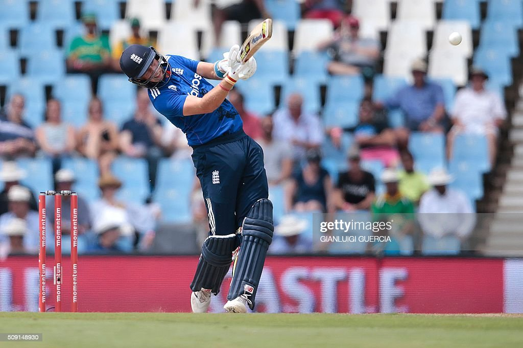 England batsman Joe Root plays a shot during the third One Day International (ODI) match between England and South Africa at the Supersport park on February 9, 2016 in Centurion, South Africa. GUERCIA