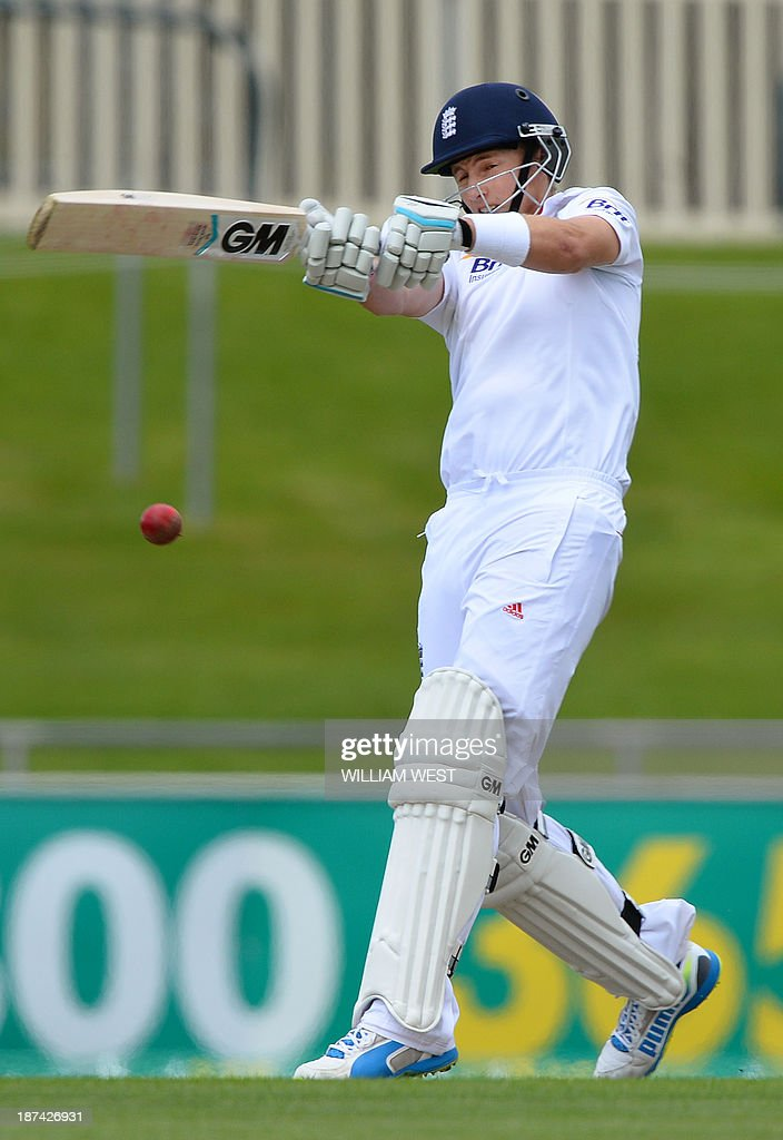 England batsman Joe Root pulls a ball away from the Australia A bowling on the final day of their cricket match played at the Bellerive Oval in Hobart on November 9, 2013. AFP PHOTO/William WEST IMAGE
