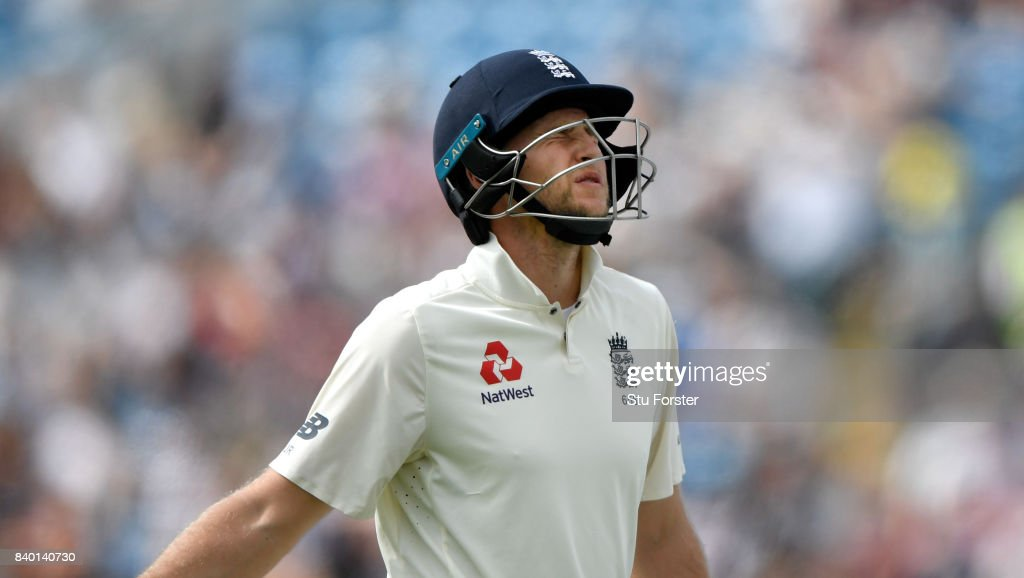 England batsman Joe Root reacts after being dismissed during day four of the 2nd Investec Test Match between England and West Indies at Headingley on August 28, 2017 in Leeds, England.