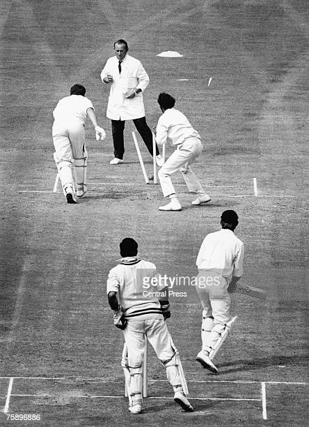 England batsman John Jameson is run out after a straight drive from Brian Luckhurst was deflected by Chandrasekar during the Third Test against India...