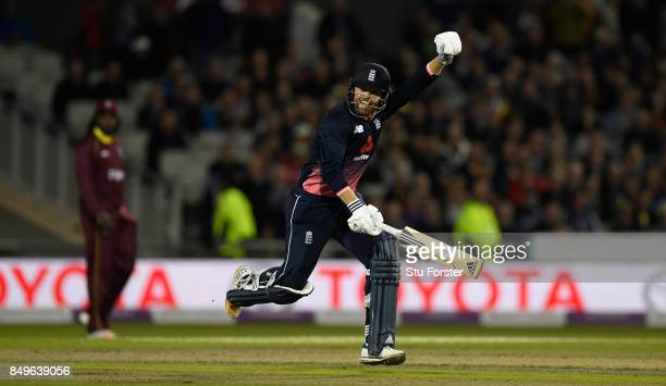 England batsman Jonathan Bairstow celebrates his century during the 1st Royal London One Day International match between England and West Indies at...