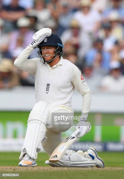 England batsman Jonathan Bairstow reacts after being given out for 99 runs after review during day two of the 4th Investec Test match between England...