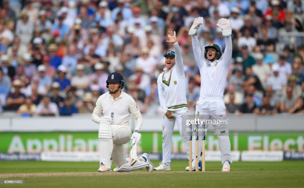 England batsman Jonathan Bairstow reacts after being given out for 99 runs after review during day two of the 4th Investec Test match between England and South Africa at Old Trafford on August 5, 2017 in Manchester, England.