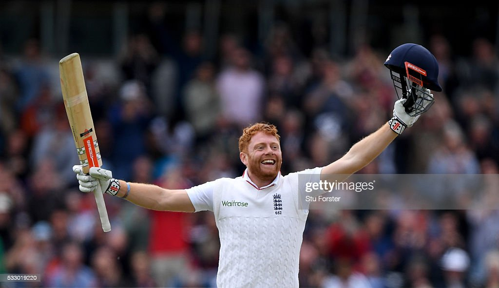 England batsman Jonny Bairstow celebrates after reaching his century during day two of the 1st Investec Test match between England and Sri Lanka at Headingley on May 20, 2016 in Leeds, United Kingdom.