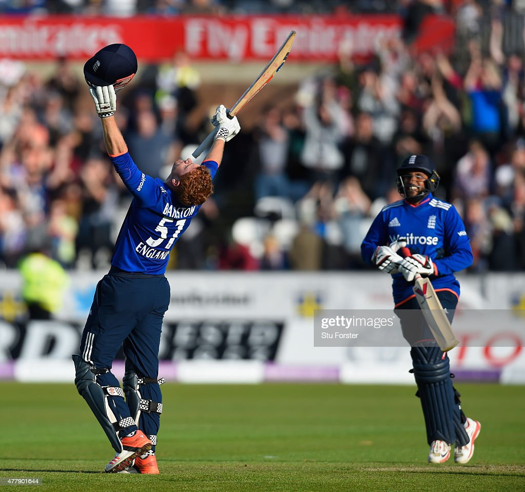 England batsman Jonny Bairstow celebrates scoring the winning runs during the 5th Royal London One day international between England and New Zealand at Emirates Durham ICG on June 20, 2015 in Chester-le-Street, England.