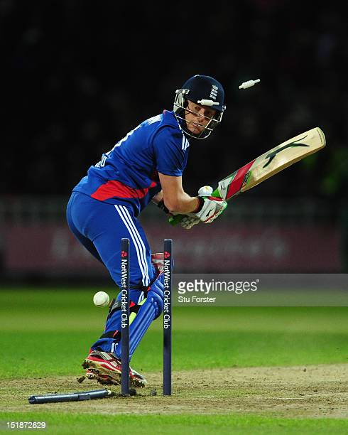 England batsman Jonny Bairstow is bowled by Morne Morkel during the 3rd NatWest International T20 between England and South Africa at Edgbaston on...