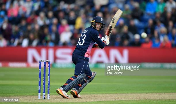 England batsman Jos Buttler hits out during the ICC Champions Trophy match between England and New Zealand at SWALEC Stadium on June 6 2017 in...