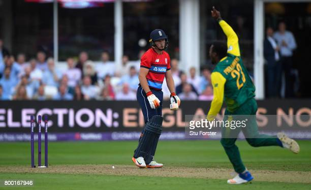 England batsman Jos Buttler is bowled by Andile Phehlukwayo during the 2nd NatWest T20 International between England and South Africa at The Cooper...