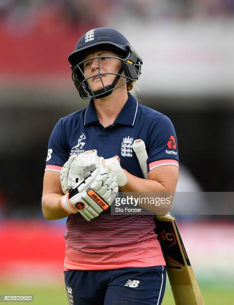 England batsman Kathryn Brunt reacts after being run out during the ICC Women's World Cup 2017 Final between England and India at Lord's Cricket...